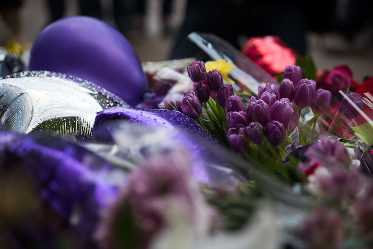 A bouquet of purple flowers outside of First Avenue bellow Prince's star in downtown Minneapolis. April 21, 2016.